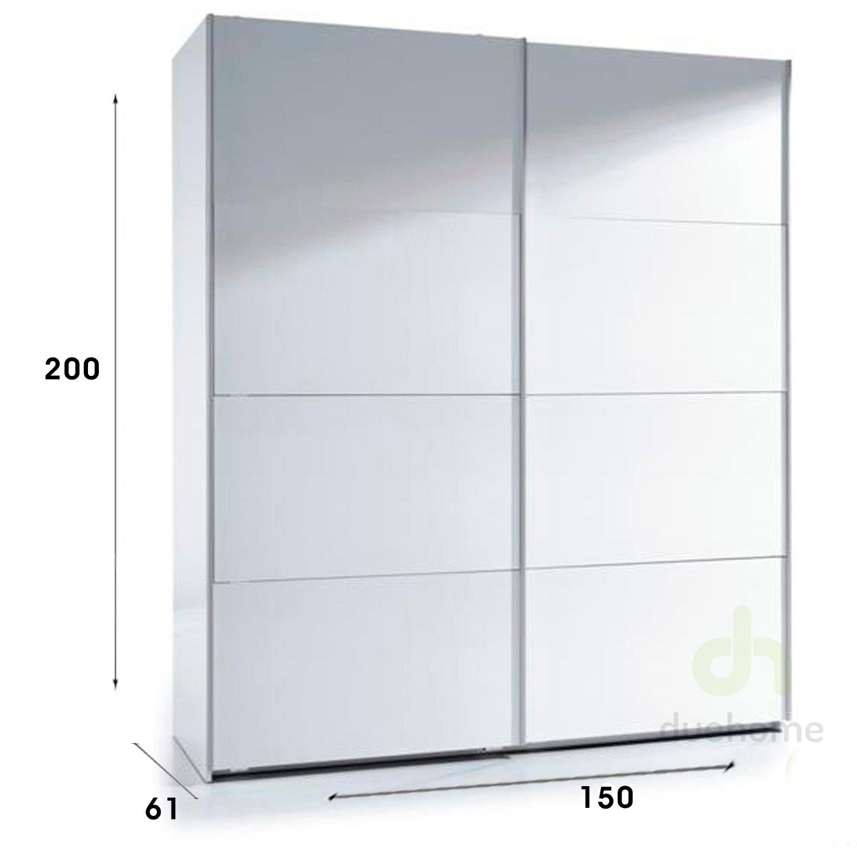 Armario de puertas correderas 150x200 blanco brillo ebay - Armario blanco puertas correderas ...