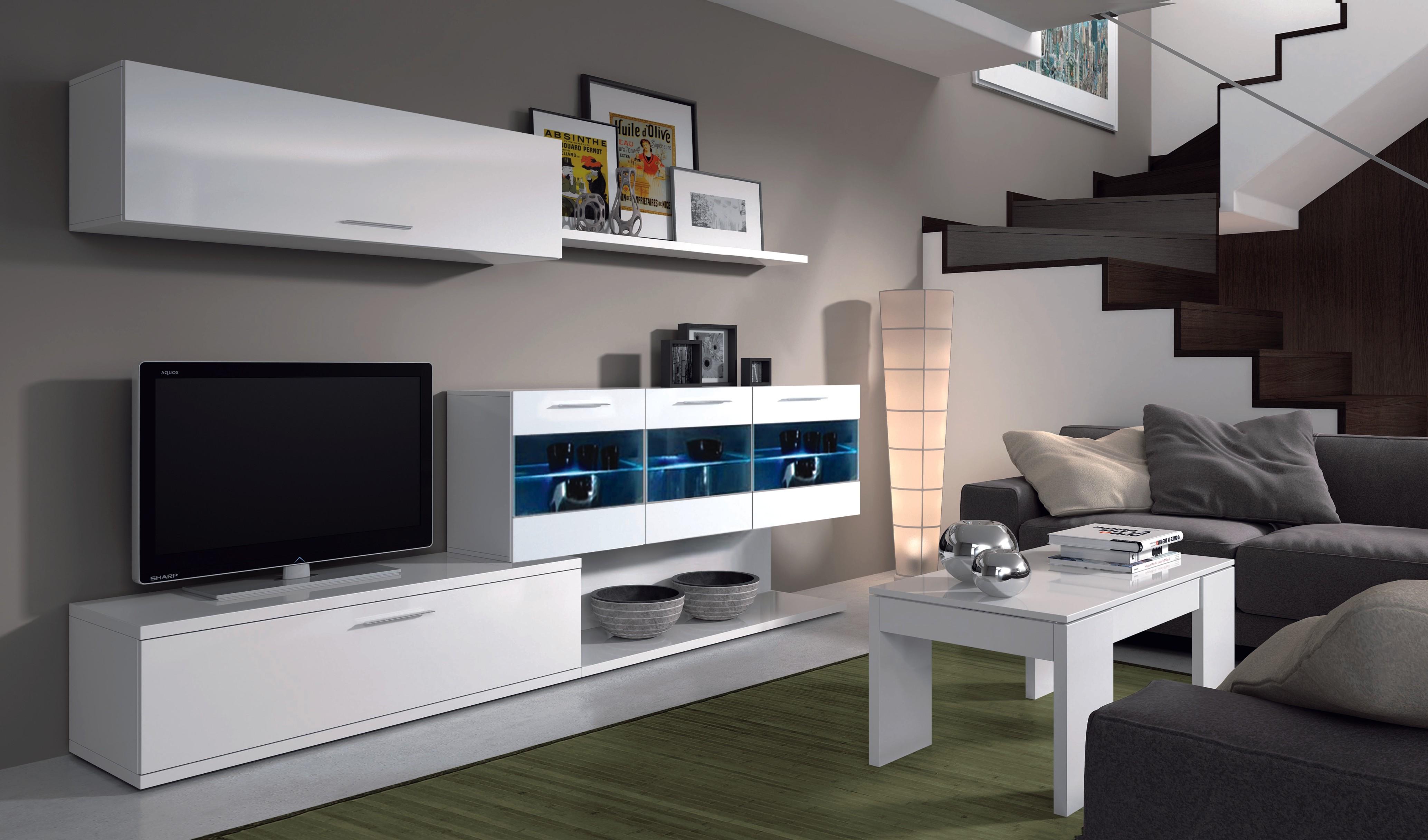 Mueble de comedor salon moderno con leds ebay for Salon comedor moderno