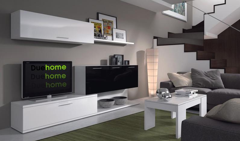 Mueble de comedor moderno acabado blanco y negro brillo ebay for Mueble salon moderno blanco