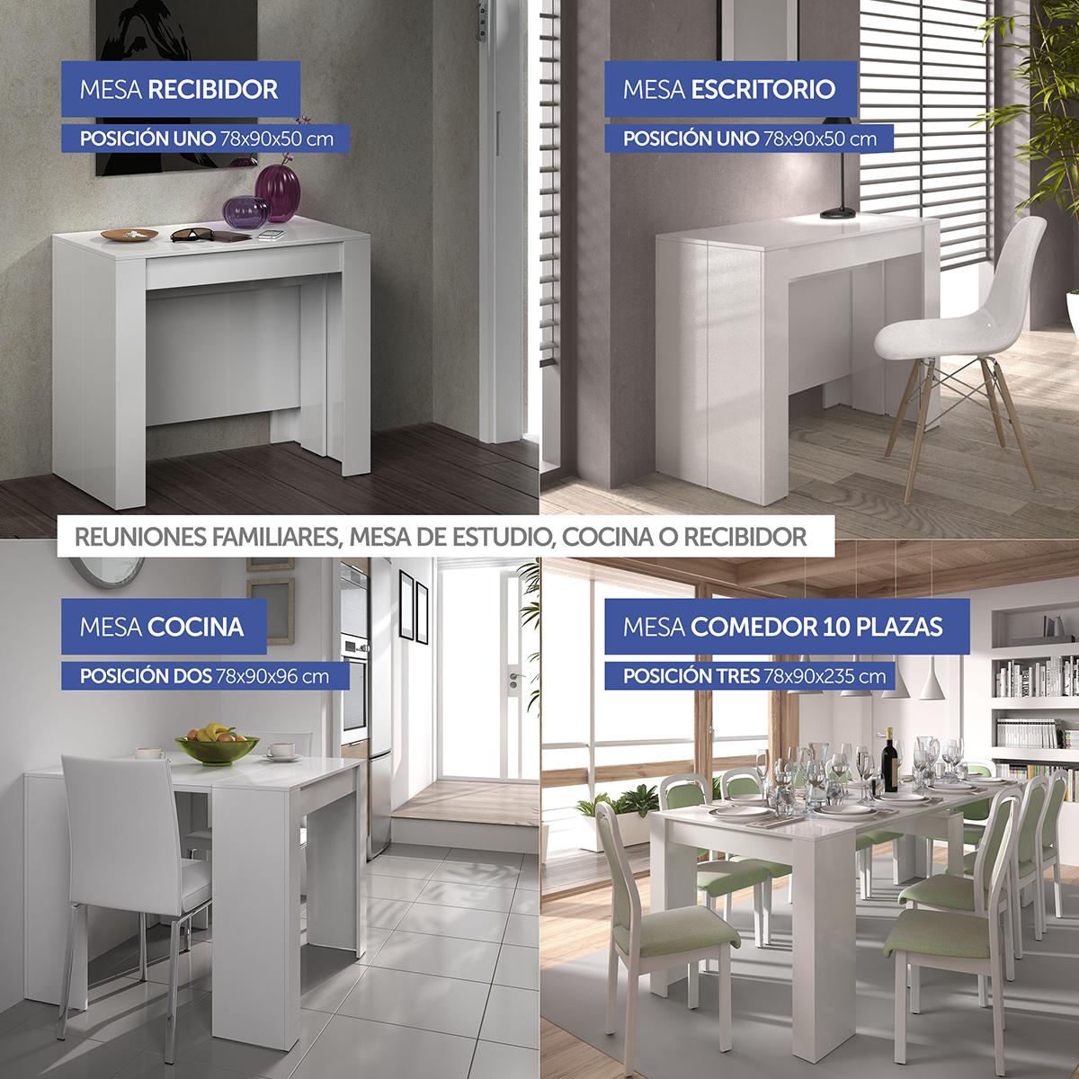 Mesa Consola Extensible Milano4 Blanco - Mesa Consola Extensible ...