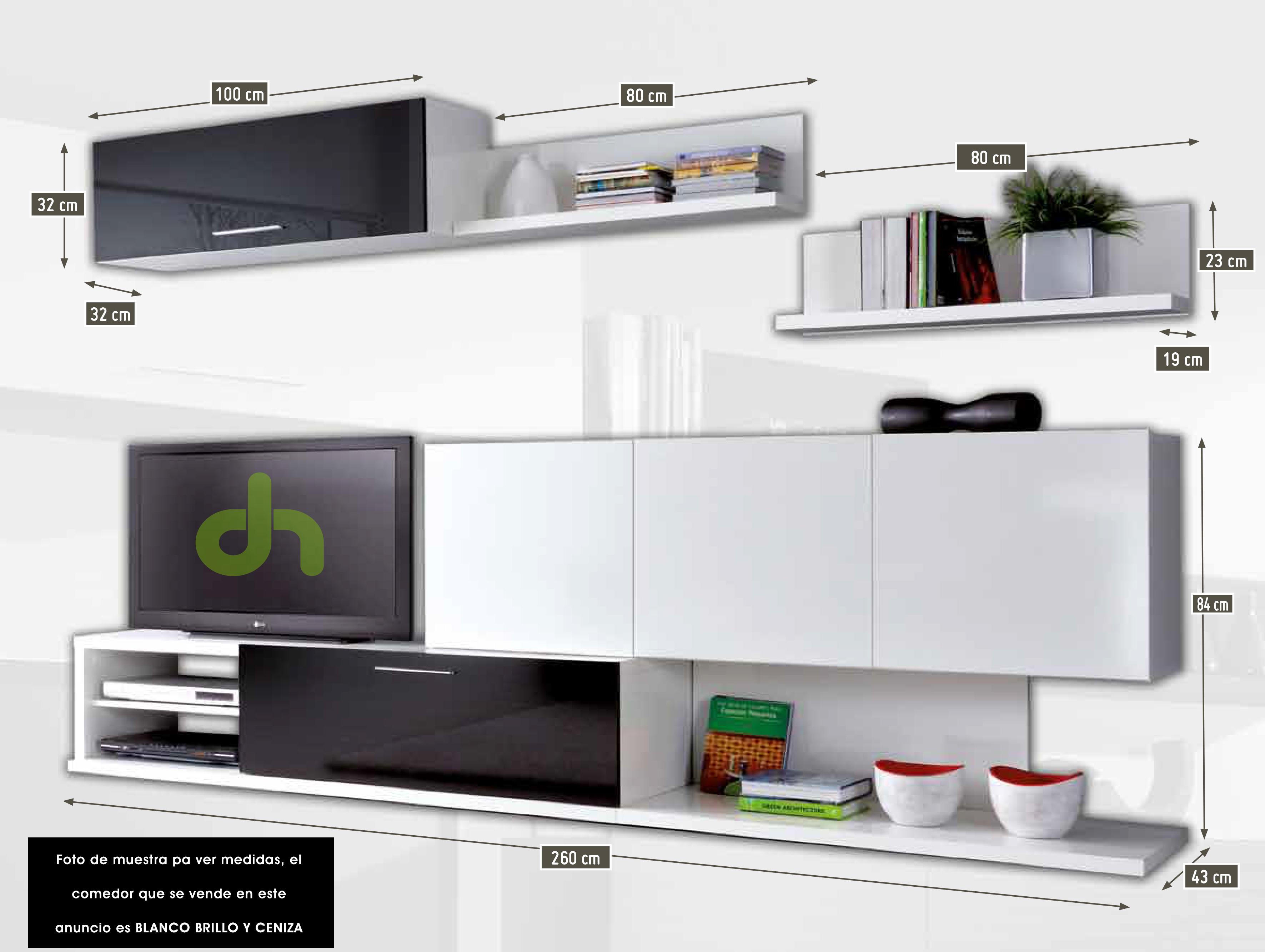 Mueble de comedor salon moderno ceniza y blanco brillo ebay for Medidas para muebles
