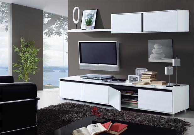 Mueble de comedor moderno salon completo blanco brillo for Mueble comedor minimalista