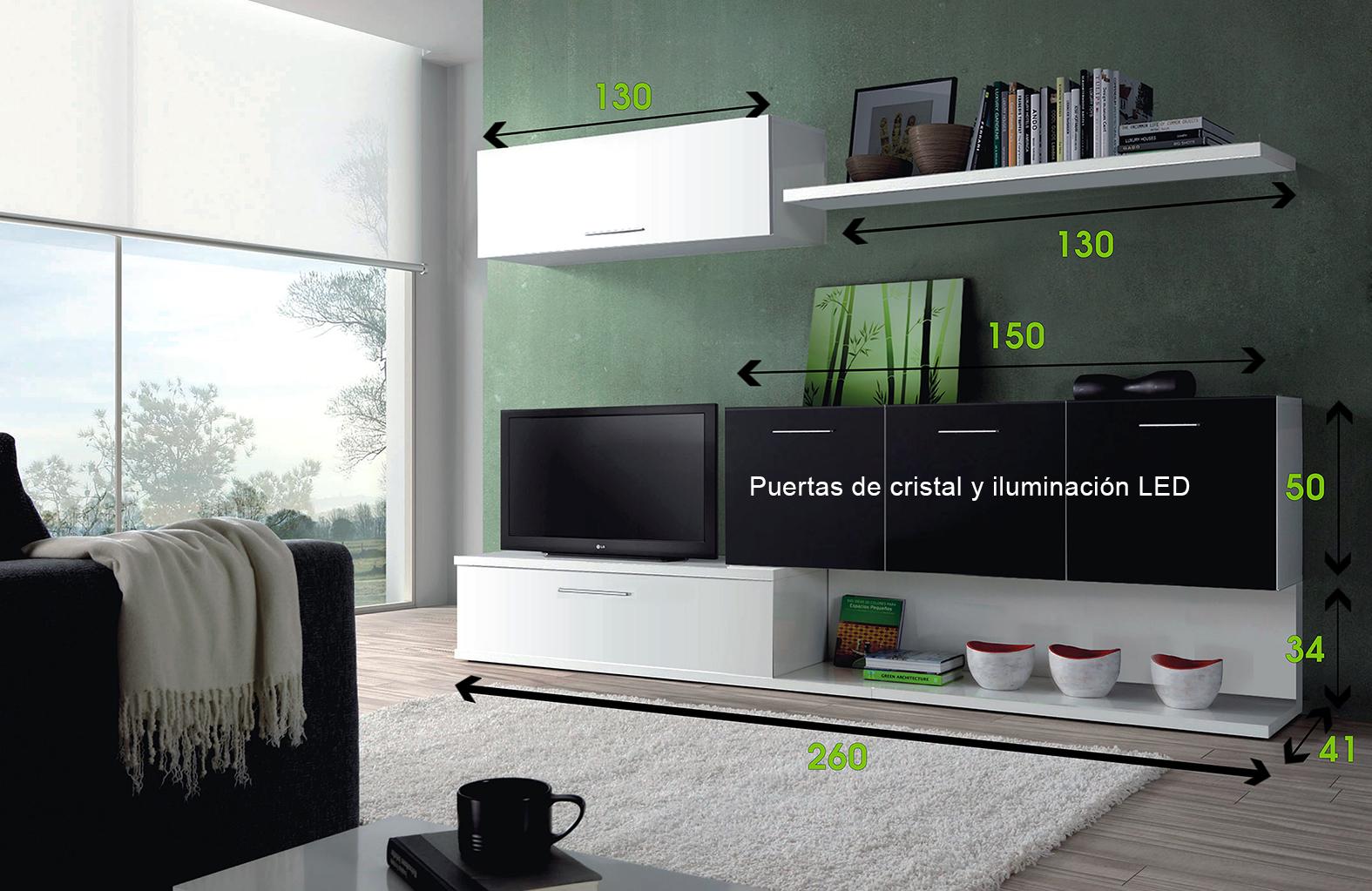 Mueble de comedor salon moderno con leds ebay for Mueble moderno salon