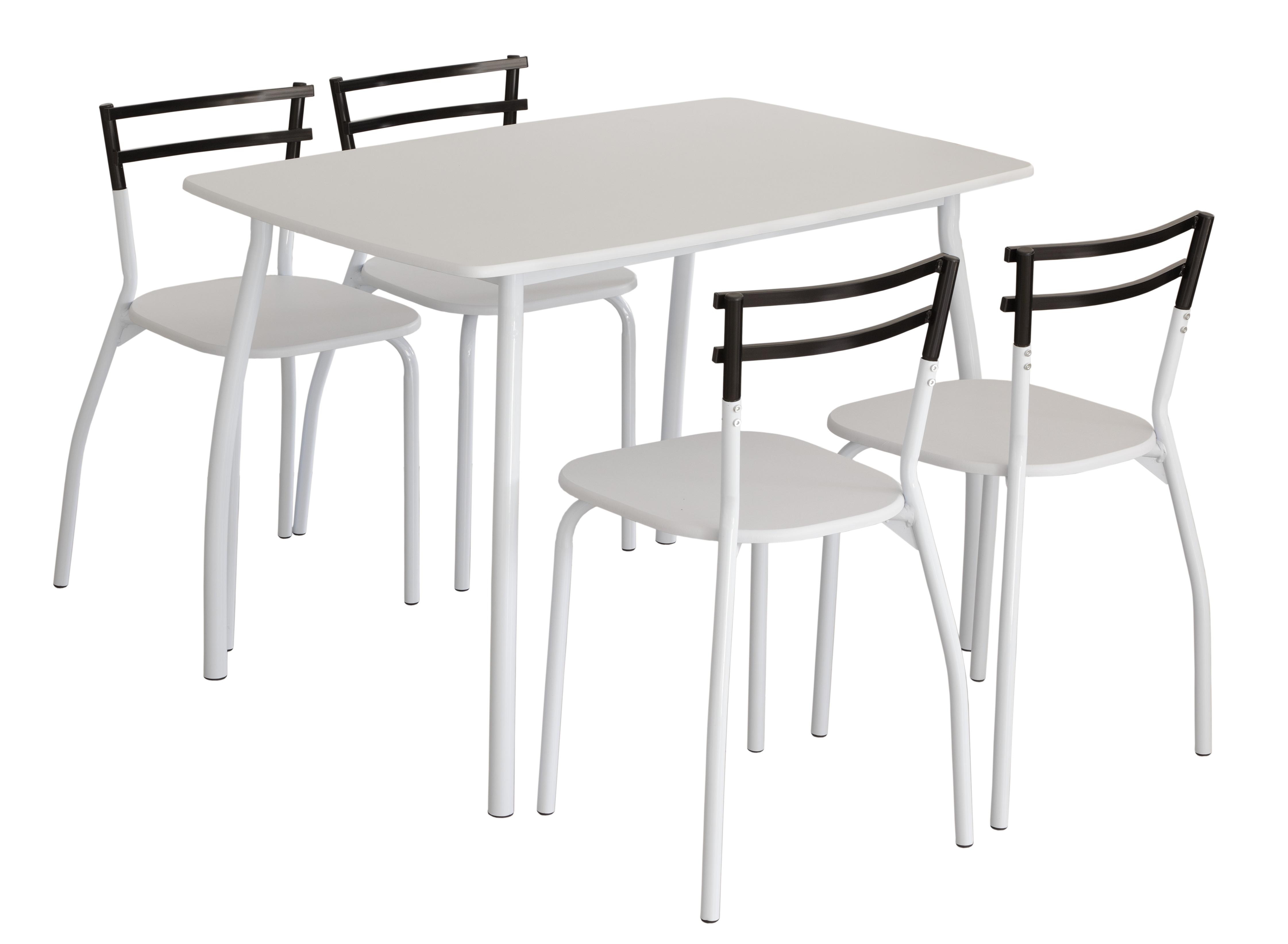 Set cocina mesa y 4 sillas blanco mesa de comedor ebay for Mesas y sillas de cocina comedor