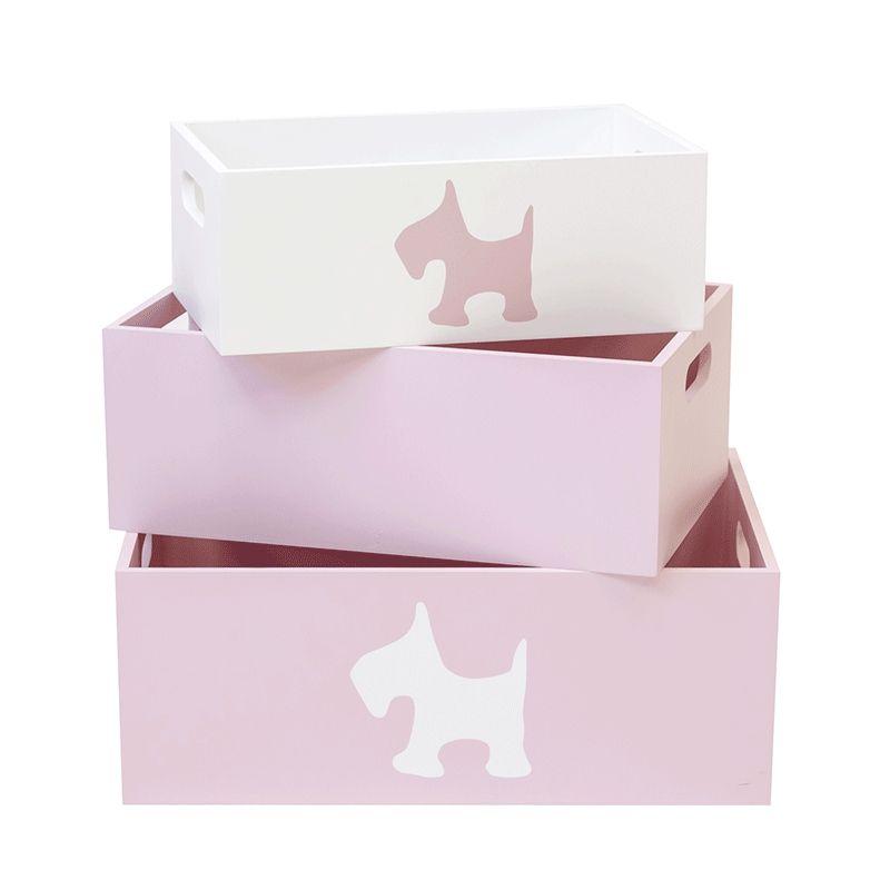 Set de 3 cajas de madera