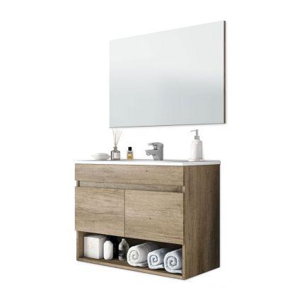 Mueble de baño con espejo Cotton 2 puertas