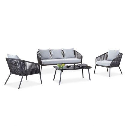 Conjunto de exterior Melbourne – Mesa + 2 butacas + sofá 3 plazas
