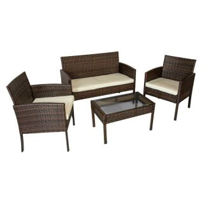 Conjunto de exterior Brasil –Mesa + 2 butacas + sofá 2 plazas