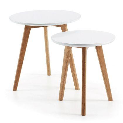 Set de mesas auxiliares Kirb blanco