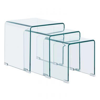Set 3 mesas nido Glass