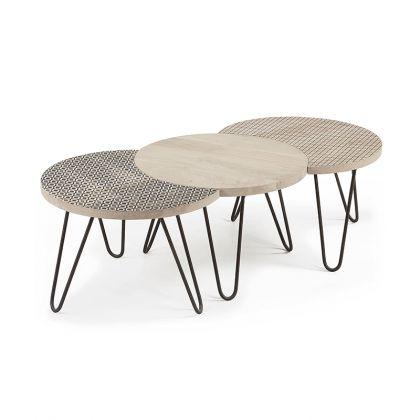 Set de 3 mesas de centro Hoss