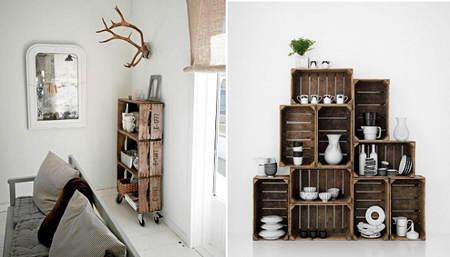 Ideas para decorar con cajas recicladas el blog de due - Estanterias pequenas de madera ...