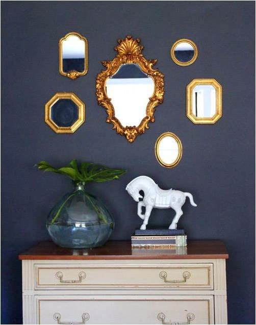 navy and gold mirrors
