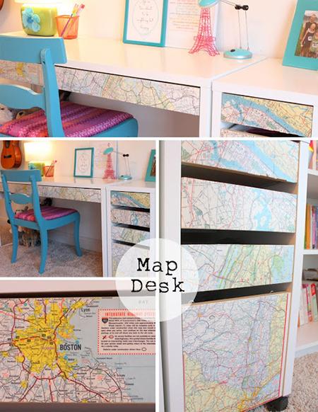 decoupaged+map+desk-792945