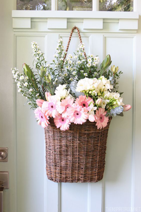 Flower decoration ideas for home- Wicker basket flower decoration for door